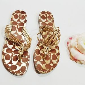 Coach Gold Strappy Flip Flop Sandals Size 9